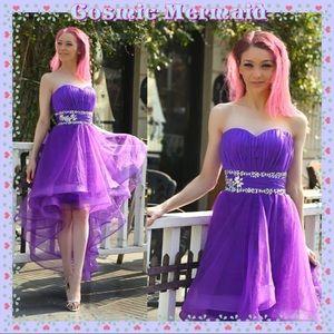 Dresses & Skirts - Purple🆕💜Glam High Low Crystal Sweetheart Dress💜